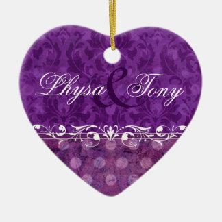 Antique Damask Save the Date Wedding Favor Heart Ceramic Heart Decoration