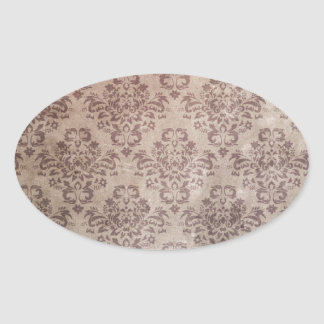 Antique damask wallpaper pattern oval sticker