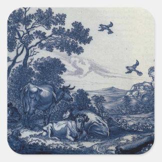 Antique Delft Blue Tile - Cattle and Birds Square Sticker