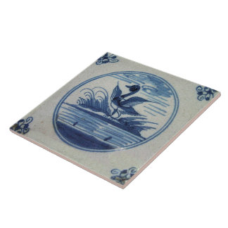 Antique Delft Blue Tile - Duck in the Water