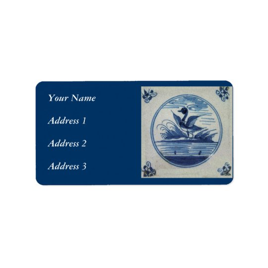 Antique Delft Blue Tile - Duck in the Water Address Label