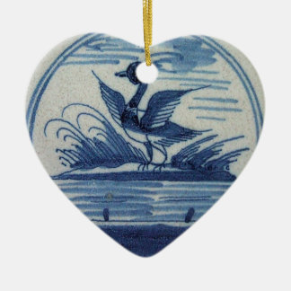 Antique Delft Blue Tile - Duck in the Water Ceramic Heart Decoration
