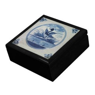 Antique Delft Blue Tile - Duck in the Water Large Square Gift Box