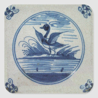 Antique Delft Blue Tile - Duck in the Water Square Sticker