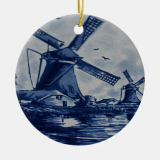 Antique Delft Blue Tile - Windmills by the Water Christmas Ornament
