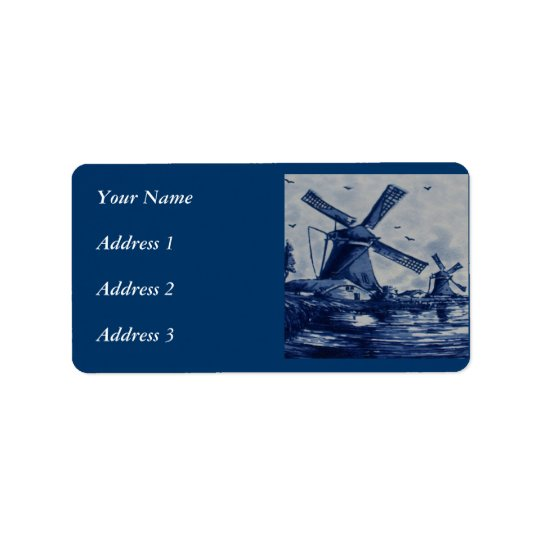 Antique Delft Blue Tile - Windmills by the Water Label