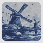 Antique Delft Blue Tile - Windmills by the Water Stickers