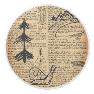Antique Dictionary Page with Doodles Sepia Black Ceramic Knob
