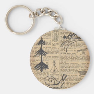 Antique Dictionary Page with Doodles Sepia Black Key Ring