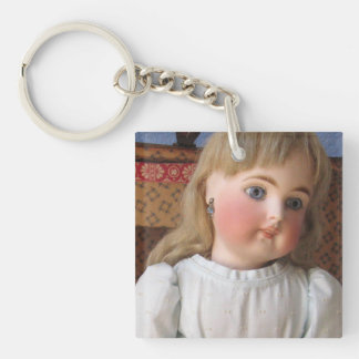 Antique Doll in Blue Dress Key Chain, Customizable Key Ring