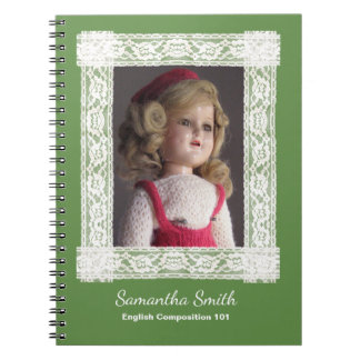 Antique Doll in Red Dress Notebook, Customizable Notebooks