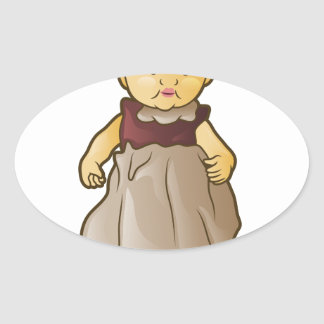 Antique Doll Oval Sticker