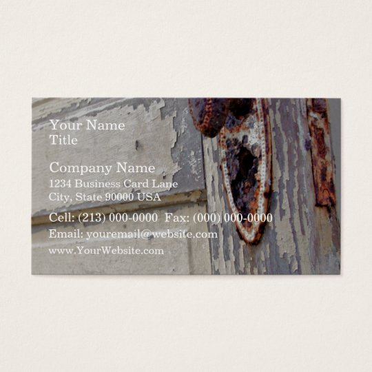 Antique door and door handle in farmers home business card