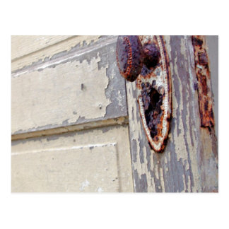 Antique door and door handle in farmers home postcard