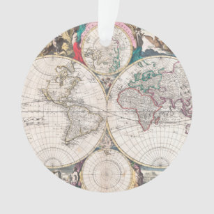 World map christmas tree decorations ornaments zazzle antique double hemisphere world map ornament gumiabroncs Gallery