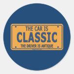 Antique Driver Classic Car Round Stickers