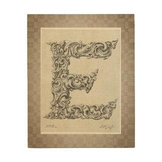"Antique ""E"" Initial Wood Wall Art"