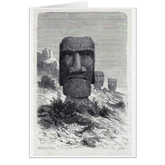 Antique Easter Island etching Greeting Card