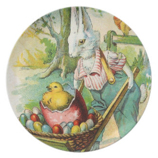 Antique Easter Post Card Bunny Wheel Barrow Party Plate