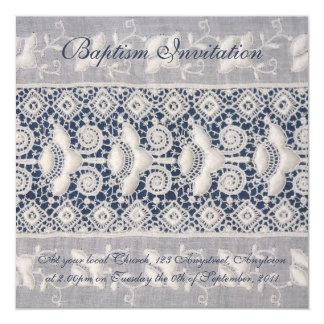 Antique embroidery baptism invitation (boy)