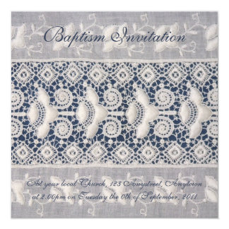 Antique embroidery baptism invitation (girl)