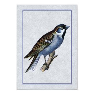 "Antique English Sparrow 5"" X 7"" Invitation Card"