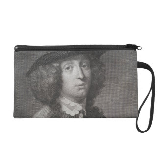 Antique Engraving of a Man with a Beautiful Face Wristlet Purses