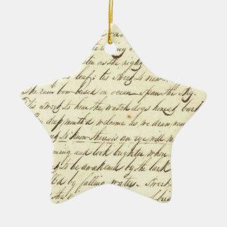 Antique Ephemera Cursive Calligraphy Script Poetry Double-Sided Star Ceramic Christmas Ornament