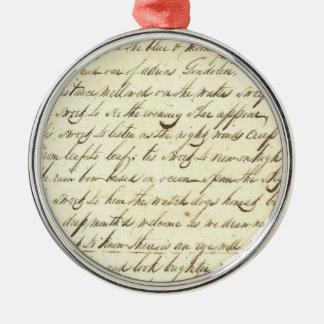 Antique Ephemera Cursive Calligraphy Script Poetry Round Metal Christmas Ornament