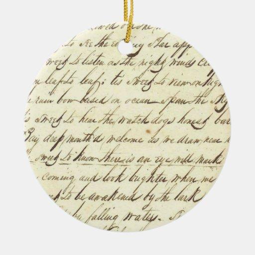 Antique Ephemera Cursive Calligraphy Script Poetry Round Ceramic Decoration