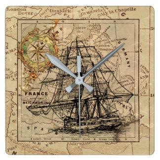 Antique Europe Map Ship Sail Nautical Marine Square Wall Clock