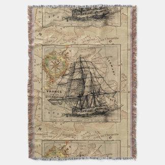 Antique Europe Map Ship Sail Nautical Marine Throw Blanket