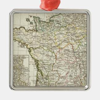 Antique European Map Silver-Colored Square Decoration
