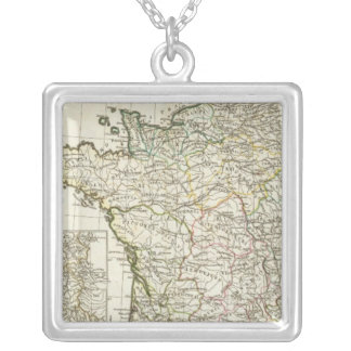 Antique European Map Silver Plated Necklace