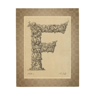 """Antique """"F"""" Initial Wood Wall Decor"""
