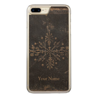 Antique Faded Gold Leaf iPhone 6 Plus Wood Carved iPhone 8 Plus/7 Plus Case