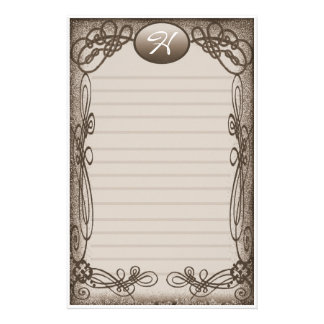 antique fancy lined personalized stationery