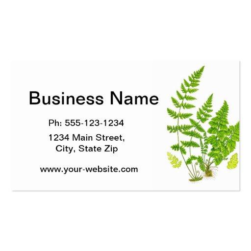 Antique Fern Print #11 Green Nature Botanical Art Business Card Template