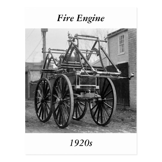 Antique Fire Engine, 1920s Postcard