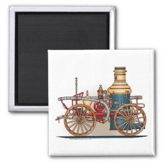 Antique Fire Truck Pumper Truck Square Magnet