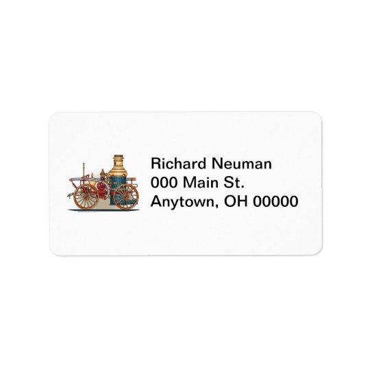 Antique Fire Truck Steam Pumper Address Label