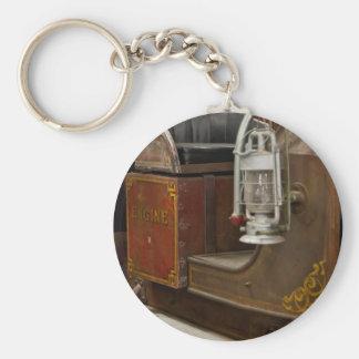 Antique Firetruck Basic Round Button Key Ring