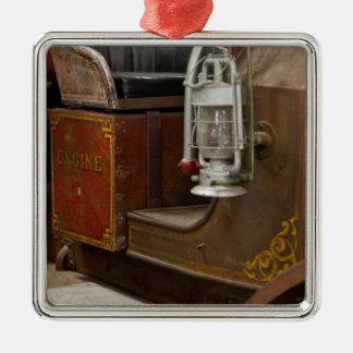 Antique Firetruck Silver-Colored Square Decoration