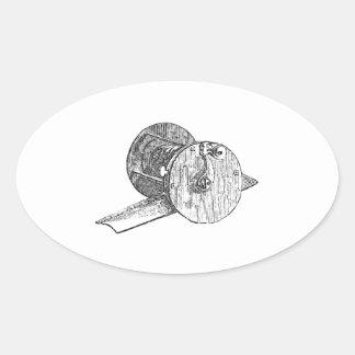Antique Fishing Reel Oval Sticker