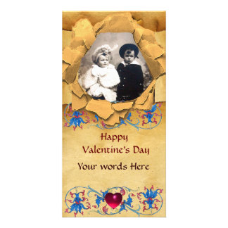 ANTIQUE FLORAL AND HEART VALENTINE DAY PARCHMENT PERSONALIZED PHOTO CARD