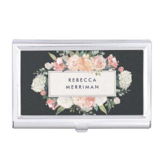 Antique Floral Blush & Charcoal Business Card Holder