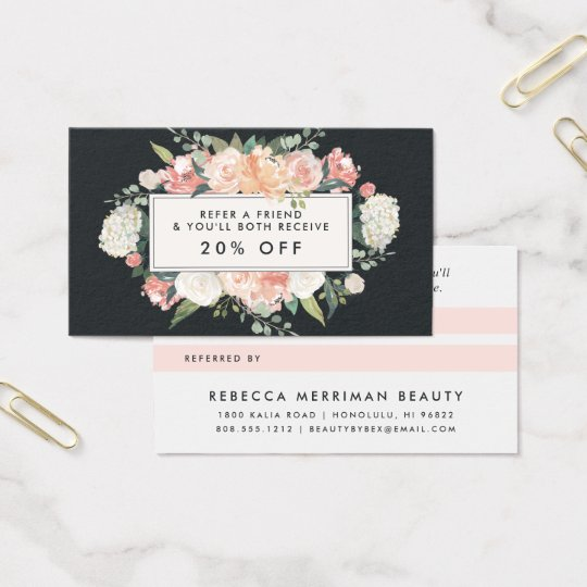 Antique Floral Blush & Charcoal Referral Business Card