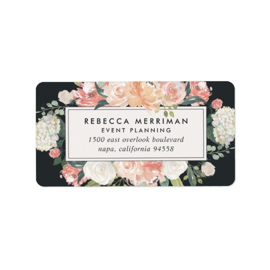 Antique Floral Blush & Charcoal Return Address Label