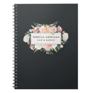 Antique Floral Blush & Charcoal Spiral Notebook