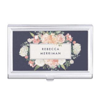 Antique Floral Blush & Navy Business Card Holder